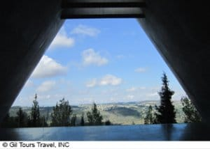 ya vashem holocaust museum in israel exit trapezoid exit opening to blue skies