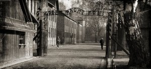 Auschwitz museum entrance, black white