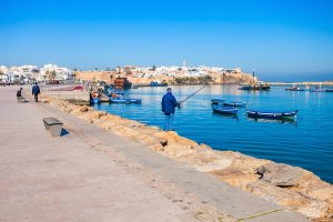 River Bou Regreg seafront and Kasbah in medina of Rabat Morocco. Rabat is the capital of Morocco. Rabat is located on the Atlantic Ocean at the mouth of the river Bou Regreg.