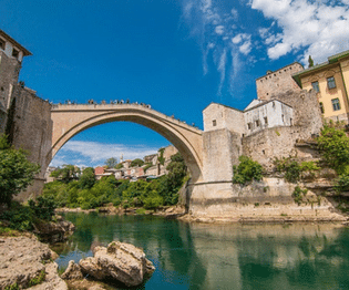 bosnia, mostar bridge from river