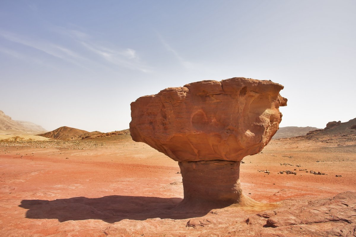 Red sandstone figures in desert Arava in Israel